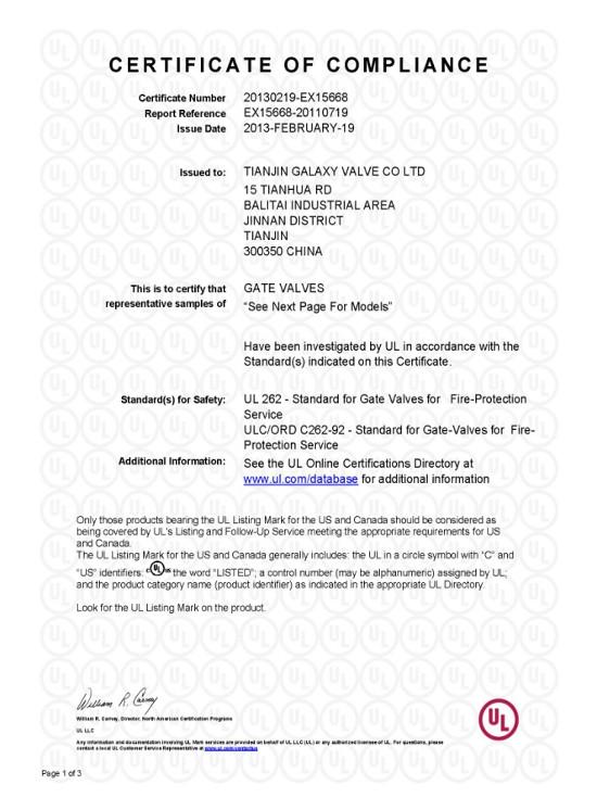 Butterfly Valves GALA certificate UL