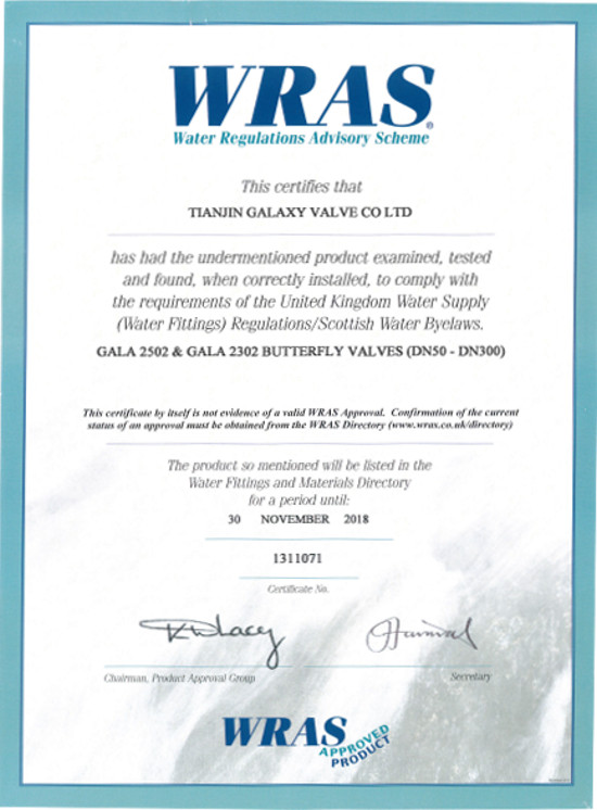 Butterfly Valves GALA certificate WRAS